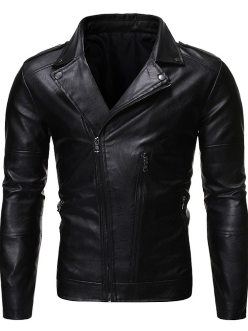 Standard Plain Lapel European Men's Leather Jacket