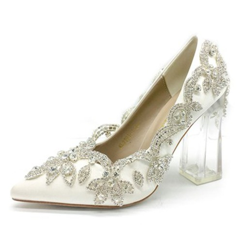 Rhinestone Pointed Toe Slip-On Chunky Heel Plain Thin Shoes