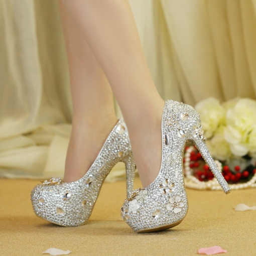Stiletto Heel Rhinestone Round Toe Slip-On Sweet Thin Shoes
