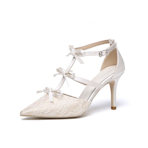 Stiletto Heel Buckle Pointed Toe Lace Sweet Thin Shoes