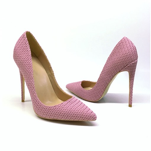 Slip-On Woven Pointed Toe Stiletto Heel 12cm Thin Shoes