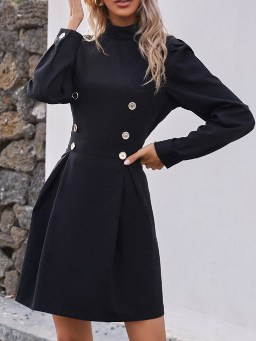 Button Stand Collar Above Knee Long Sleeve Fashion Women's Dress