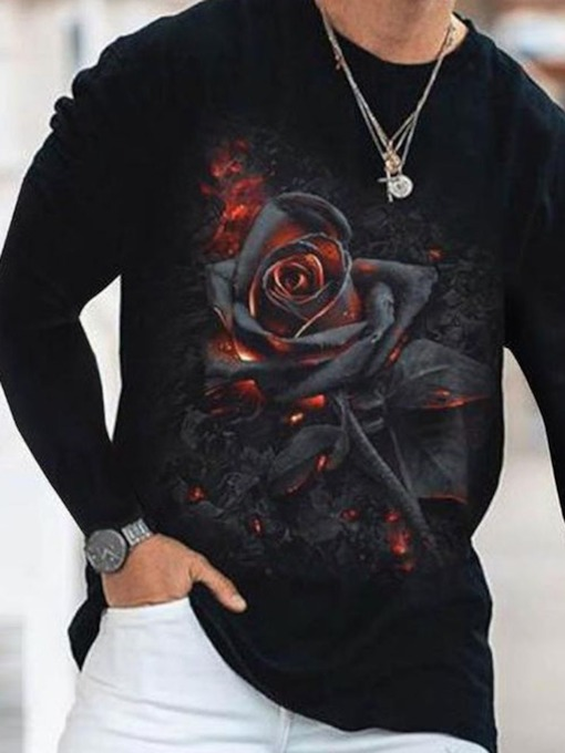 Floral Round Neck Print Casual Pullover Men's T-shirt