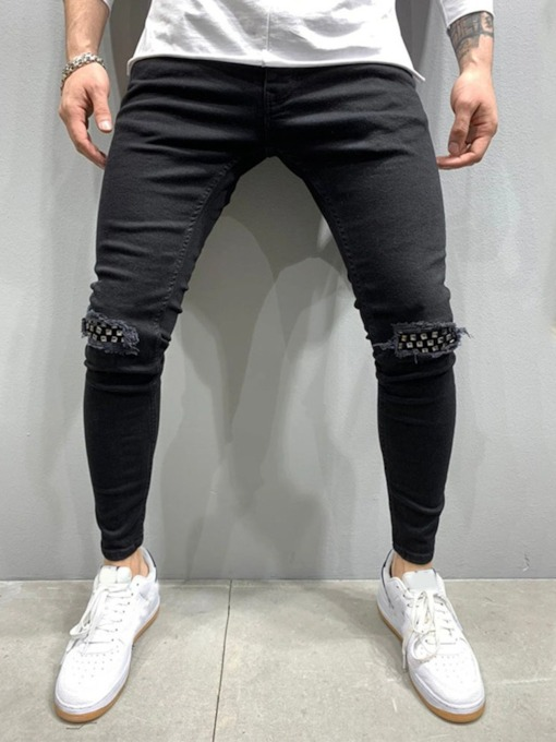 Worn Pencil Pants Casual Men's Jeans