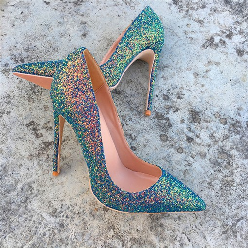 Slip-On Sequin Stiletto Heel Pointed Toe 12cm Thin Shoes
