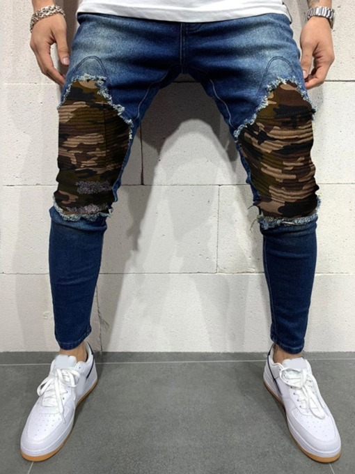 Pencil Pants Camouflage Patchwork European Men's Jeans