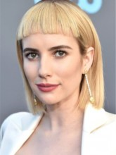 Emma Roberts Blonde Bob Style Human Hair Wigs With Bangs 120% 16 Inches Wigs