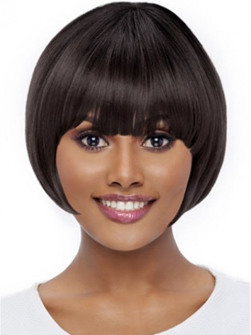 Short Bob Style Wig Natural Straight Synthetic 12 Inches 120% Wigs
