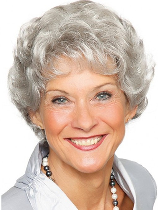 Short Grey Short Wavy Capless Synthetic Wig 120% 12 Inches Wigs
