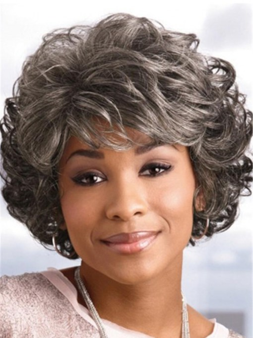 Short Bob Wig Synthetic Hair With Classic Layered Waves 12 Inches 120% Wigs