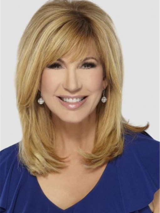 Leeza Gibbons Hairstyle Long Straight Blonde Human Hair Capless 120% 16 Inches Wigs