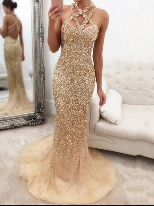 Sleeveless Rhinestone Floor-Length Mid Waist Women's Dress