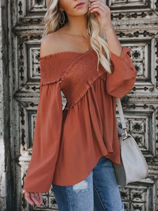 Plain Off Shoulder Patchwork Flare Sleeve Pullover Women's Blouse