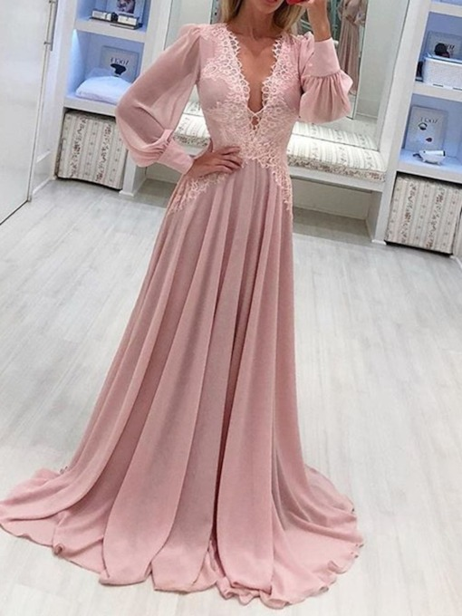 V-Neck Floor-Length Long Sleeve Lace Summer Women's Dress