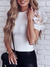 Patchwork Slim Scoop Lace Patchwork Short Sleeves Women's Sweater