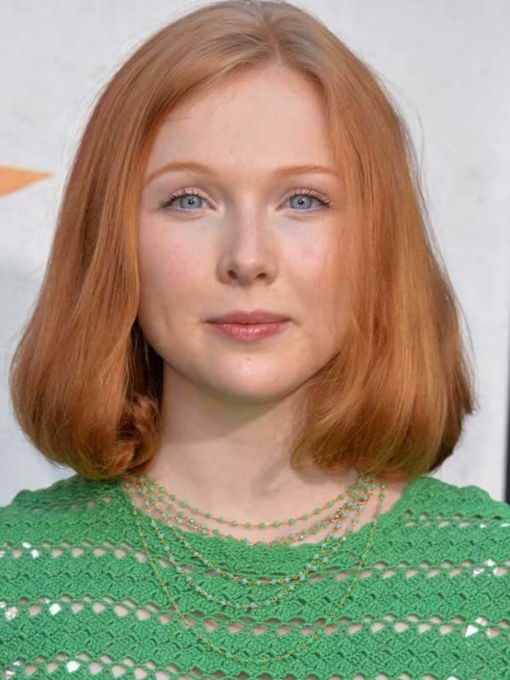 Stacked Bob Haircut Ideas Blunt Wavy Ends Molly Quinn Straight Synthetic Hair Capless 14 Inches 120% Wigs