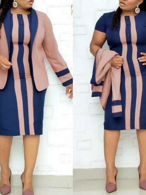 Button Coat Wear to Work Stripe Notched Lapel Women's Two Piece Sets
