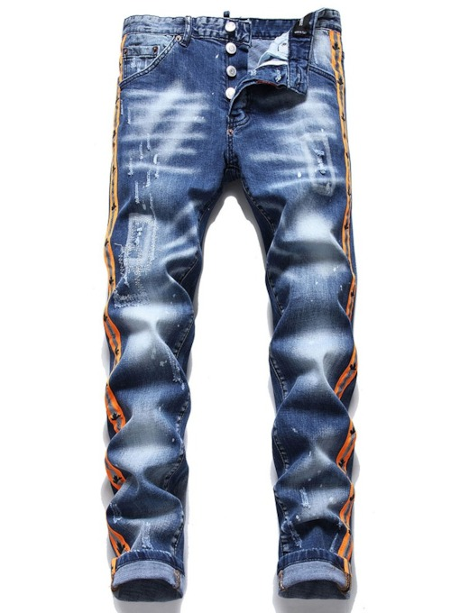 Patchwork Color Block Straight Button Men's Jeans