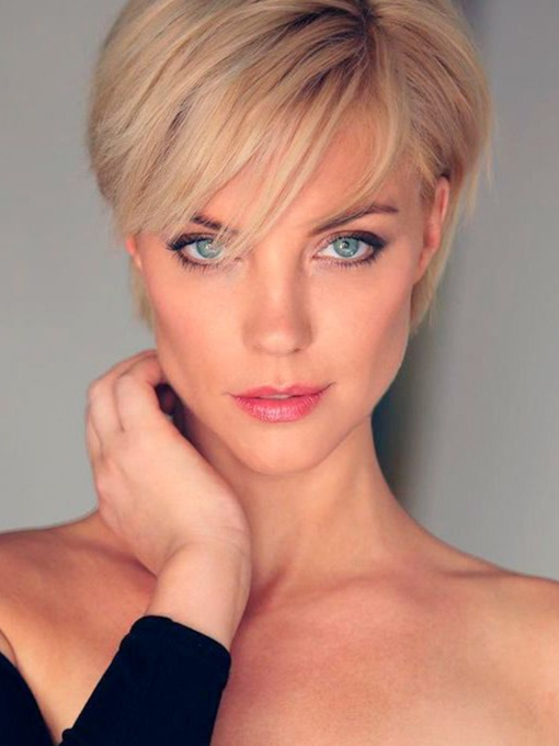 Women's Top Popular Pixie Cut Looks Straight Synthetic Hair Capless 120% Short Wigs