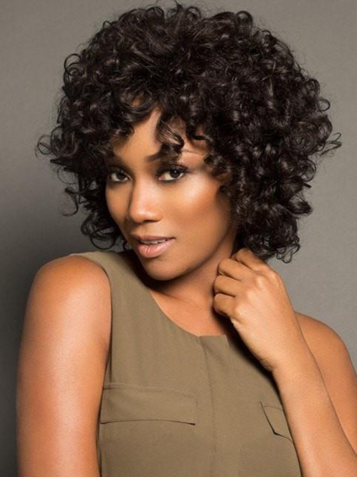 Women's Short Afro Curly Human Hair Capless Wigs 10 Inches 120% Wigs