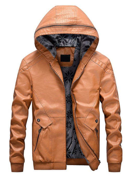 Plain Hooded Standard Zipper Men's Leather Jacket