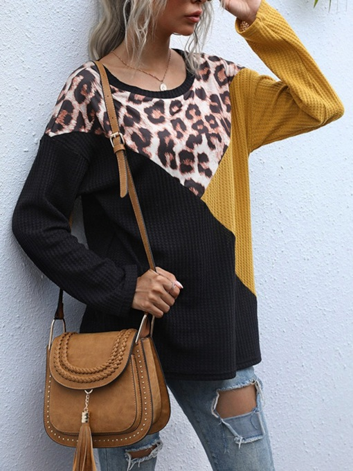 Long Sleeve Mid-Length Color Block Round Neck Loose Women's T-Shirt