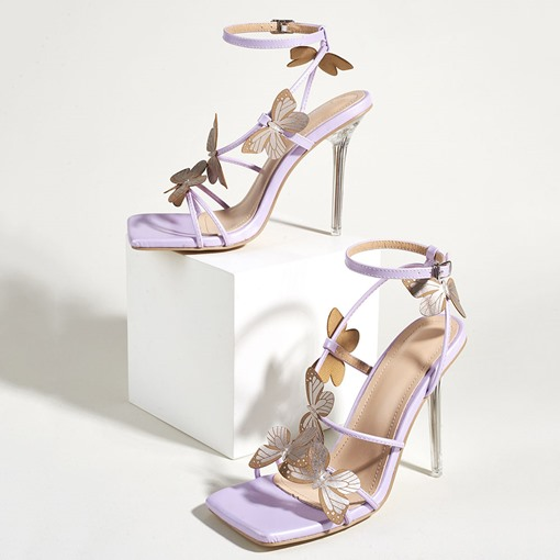 Square Toe Stiletto Heel Line-Style Buckle Casual Sandals
