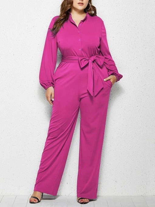 Full Length Elegant Plain Mid Waist Women's Jumpsuit
