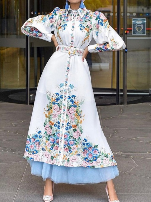 Ankle-Length Long Sleeve Embroidery Single-Breasted Women's Dress