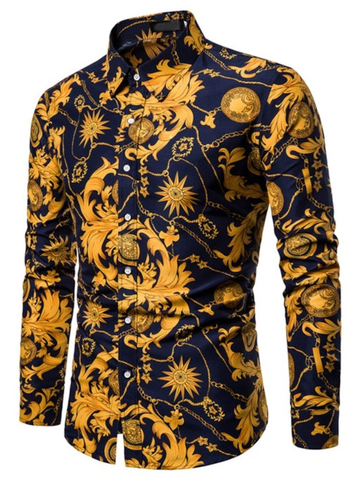 Lapel Floral Print Casual Single-Breasted Men's Shirt