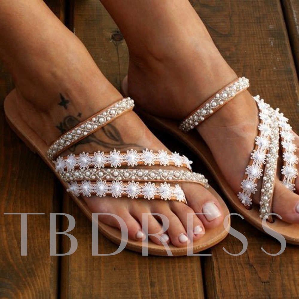 Flat With Thong Beads Slip-On Summer Slippers