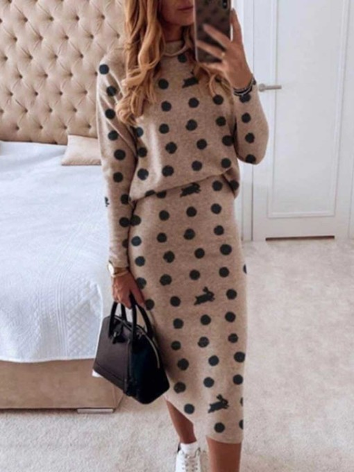 Date Night T-Shirt Print Polka Dots Bodycon Women's Two Piece Sets