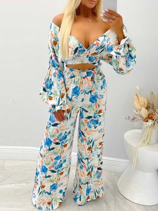 T-Shirt Party/Cocktail Floral Print Pullover Women's Two Piece Sets