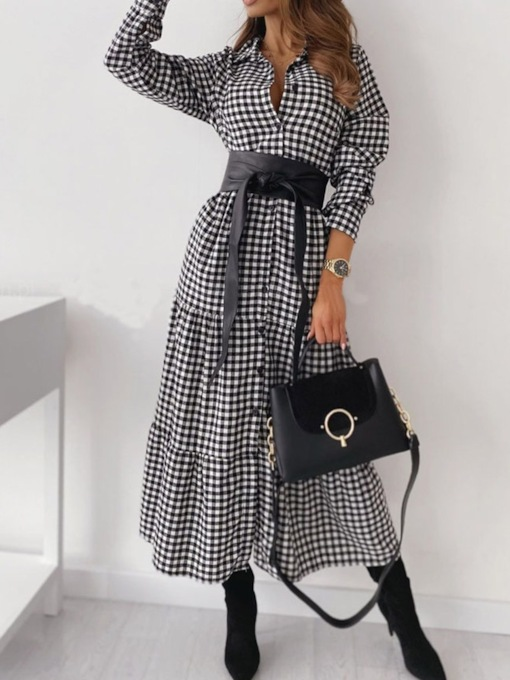 Ankle-Length Long Sleeve Patchwork Single-Breasted Women's Dress