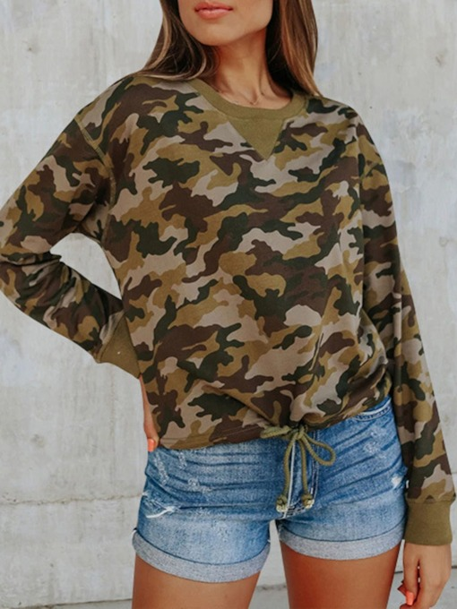 Regular Print Camouflage Long Sleeve Pullover Women's Hoodie