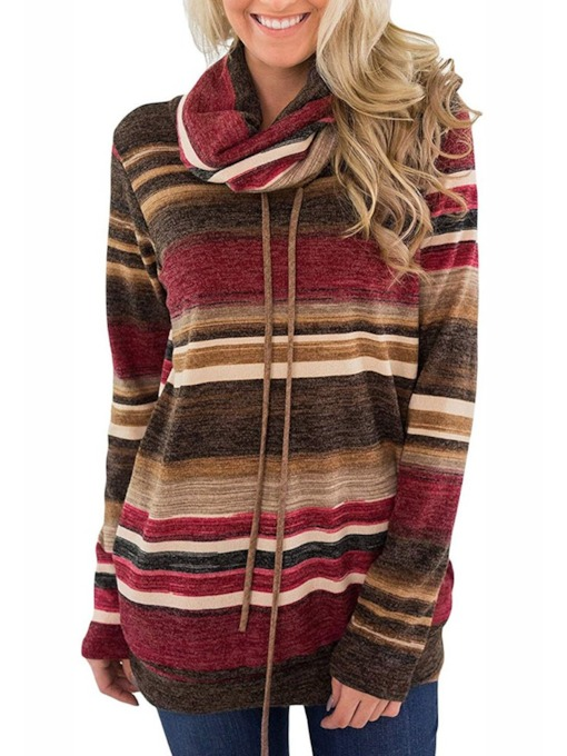 Patchwork Color Block Regular Fall Women's Hoodie