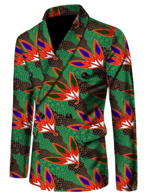 Print African Ethnic Style Slim Double-Breasted Men's Leisure Blazer