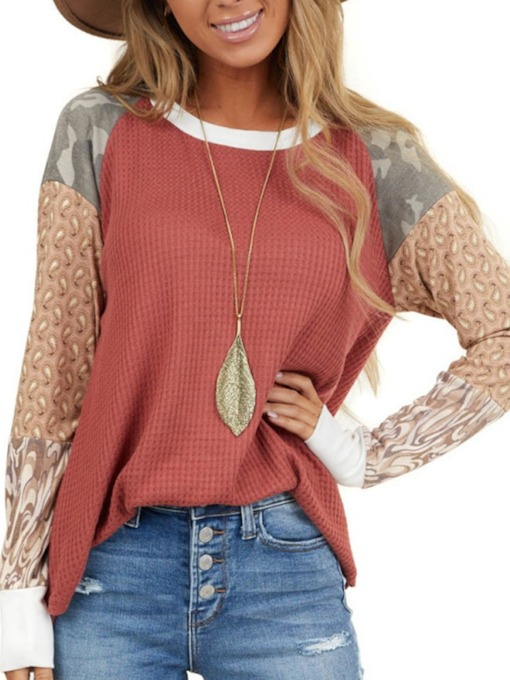 Mid-Length Color Block Long Sleeve Round Neck Western Women's T-Shirt