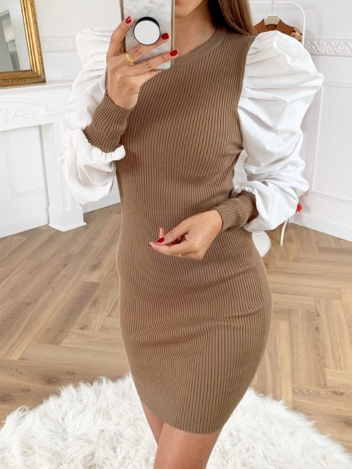 Above Knee Long Sleeve Patchwork Round Neck Fashion Women's Dress