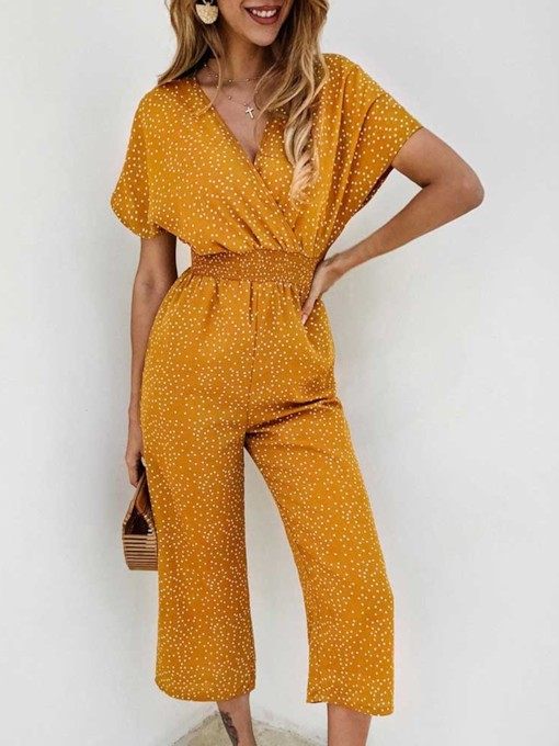 Print Polka Dots Sweet Ankle Length Wide Legs Women's Jumpsuit