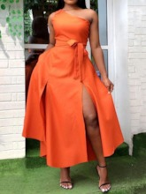 Oblique Collar Lace-Up Ankle-Length Sleeveless Fashion Women's Dress