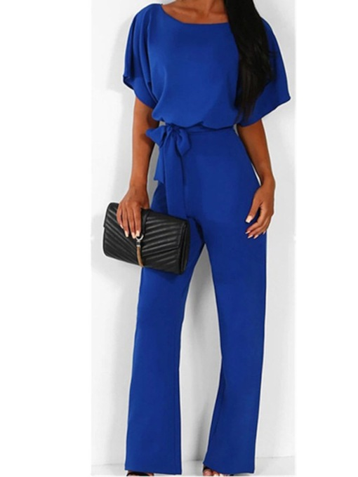 Plain Full Length Lace-Up Elegant Slim Women's Jumpsuit