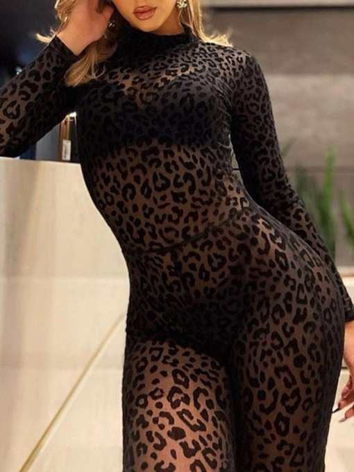 Party/Cocktail Full Length Leopard See-Through Skinny Women's Jumpsuit
