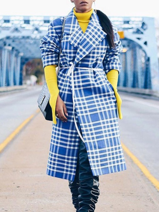 Lapel Print Long Western Women's Trench Coat