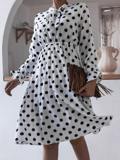 Patchwork Bow Collar Long Sleeve Mid-Calf Fashion Women's Dress