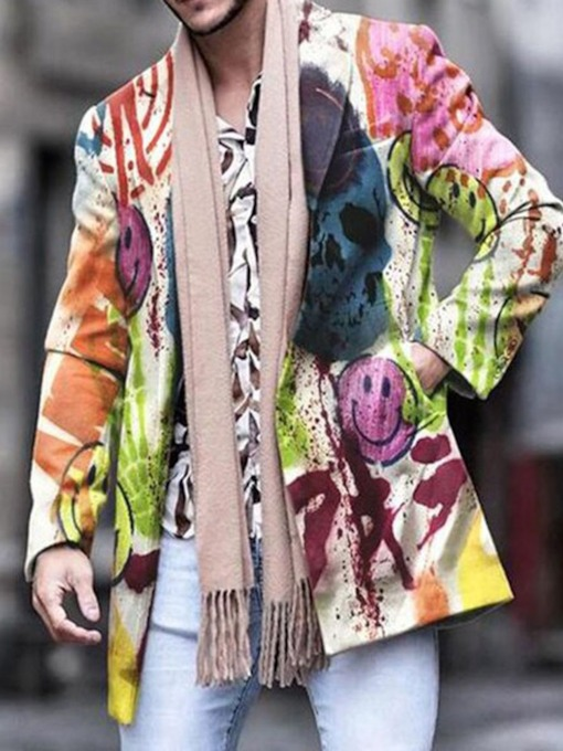 Mid-Length Print Spring Men's Coat