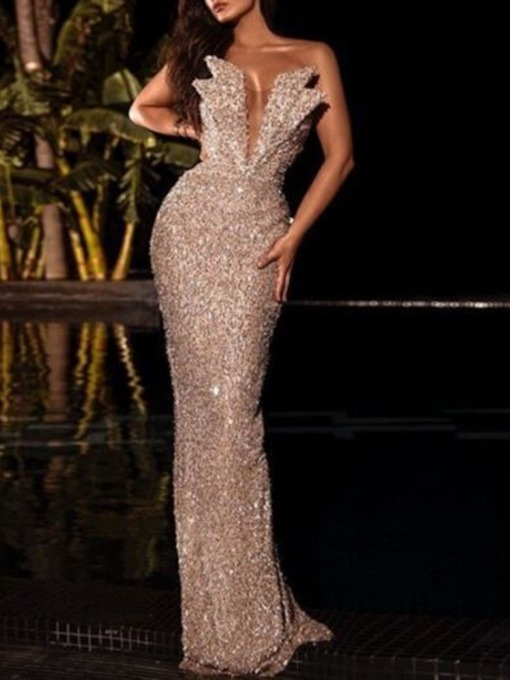 Floor-Length Sleeveless Sequins Bodycon Women's Dress