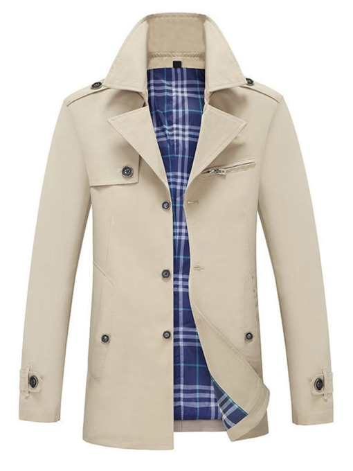 Standard Plain Lapel Fall Men's Trench Coat