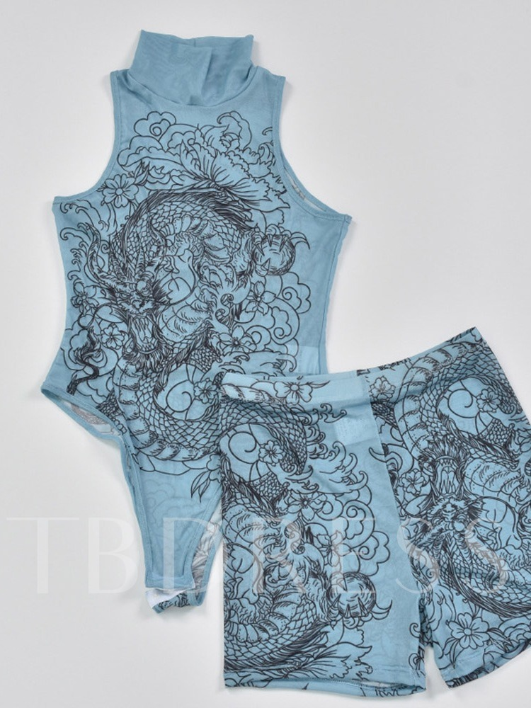 Print Jumpsuit Animal Sexy Stand Collar Women's Two Piece Sets