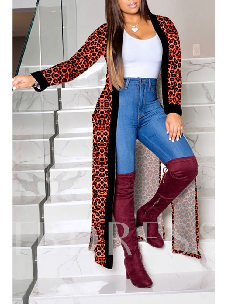 Patchwork Long Long Sleeve Women's Trench Coat